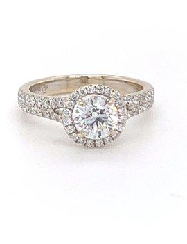 Diamond (0.99 ct center, 2.00 ctw) halo engagement ring, 18k & 14k white gold