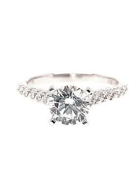 Diamond (0.09 ctw) setting, 14k white gold, shown with a cz center