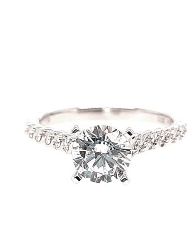 Diamond (0.09 ctw) setting, 14k white gold, shown with a cz, center stone not included