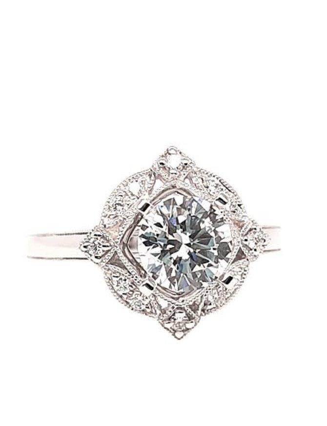 Diamond (0.14 ctw) antique style setting, 14k white gold