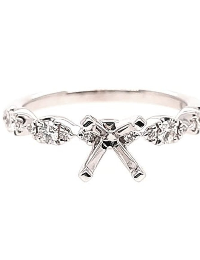 Marquise diamond (0.25 ctw) setting, 14k white gold, center stone not included