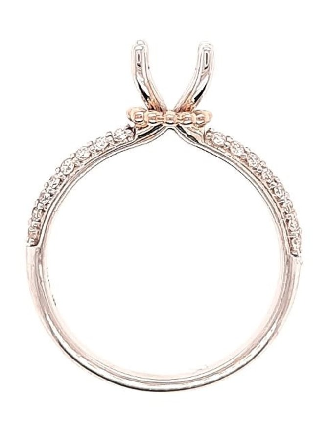 2-row diamond (0.40 ctw) setting, 14k white with rose gold accents, center stone not included