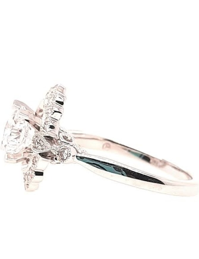 Diamond (0.25 ctw) antique halo setting, 14k white gold, shown with a cz,  center stone not included