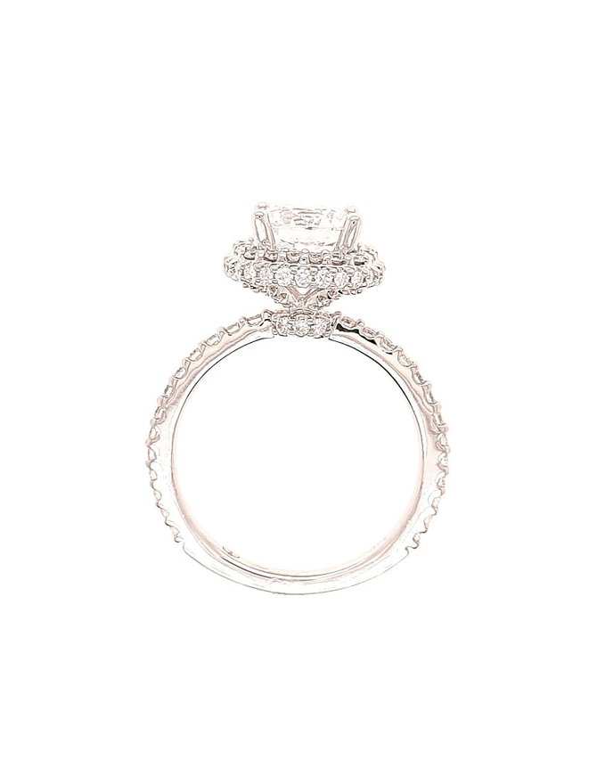 Diamond (0.75 ctw ) halo setting, 14k white gold, shown with a cz, center stone not included