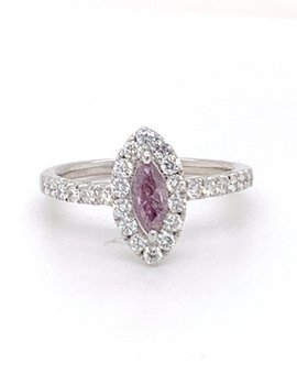 Pink diamond (0.36 ct) & white diamond (0.56 ctw) ring, 14k white gold, 2.91 grams
