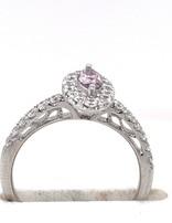 Pink diamond (0.36 ct) & white diamond (0.56 ctw) ring, 14k white gold, 2.91 grams