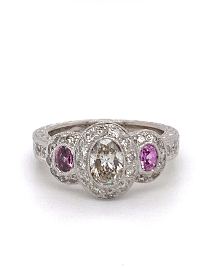 Estate diamond (1.50 ctw) & pink tourmaline ring, 14k white gold 6.8 grams