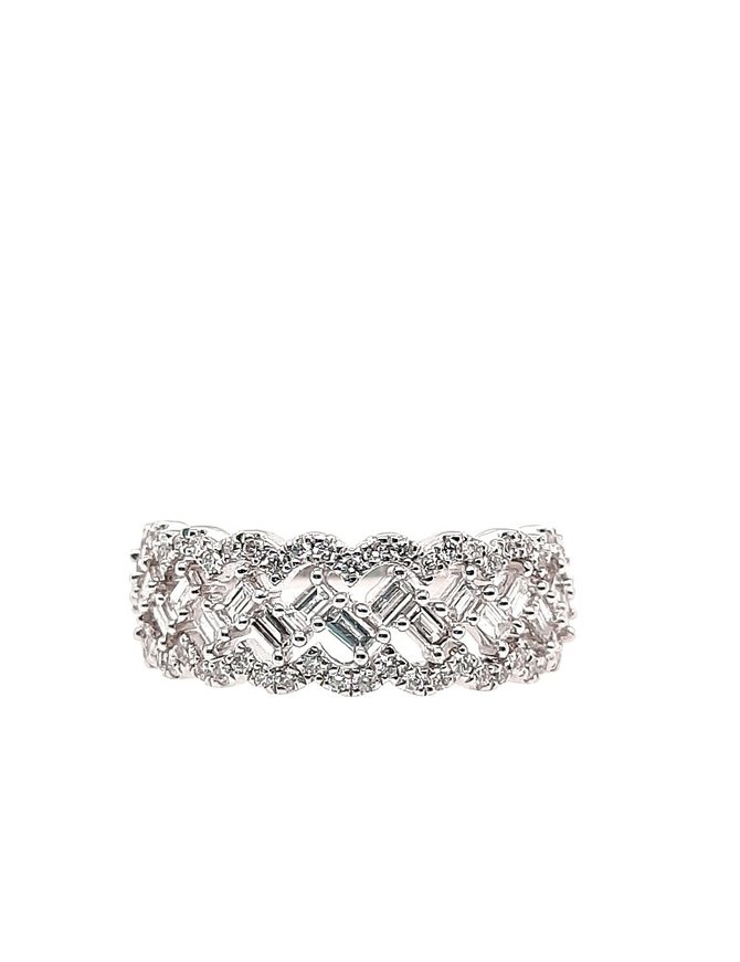 Round & baguette diamond (0.75 ctw) band, 14k white gold