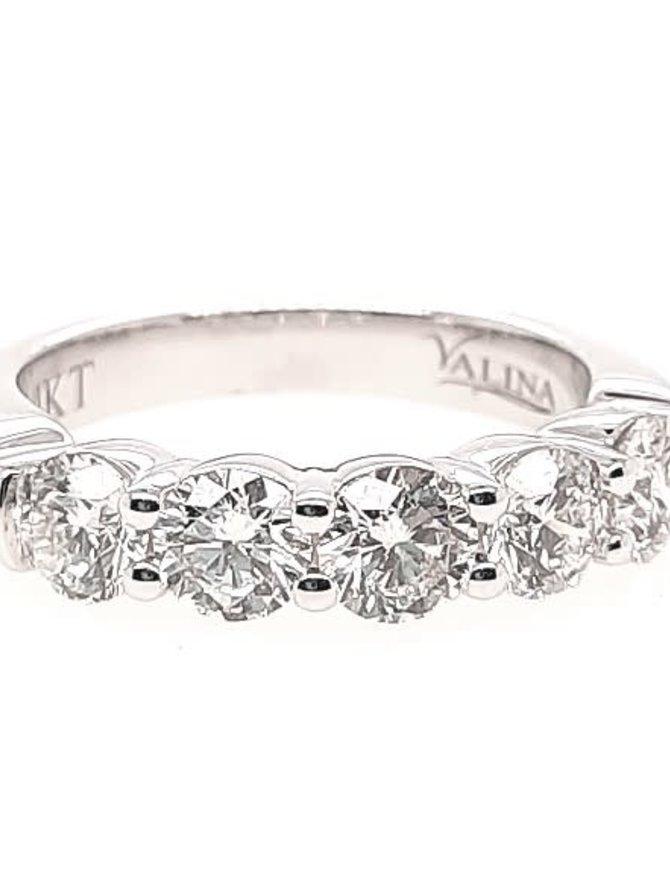 5-diamond (1.61 ctw) band, 14k white gold