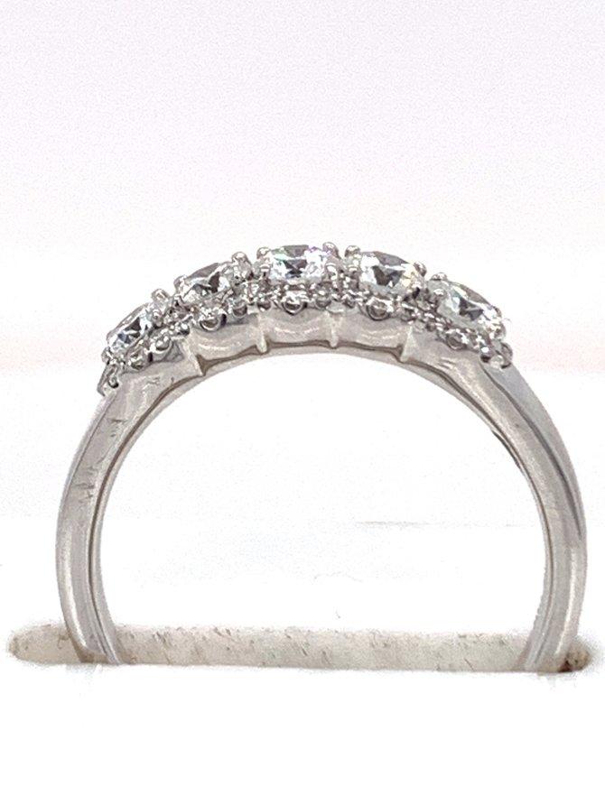 5-diamond (0.90 ctw) halo band, 14k white gold