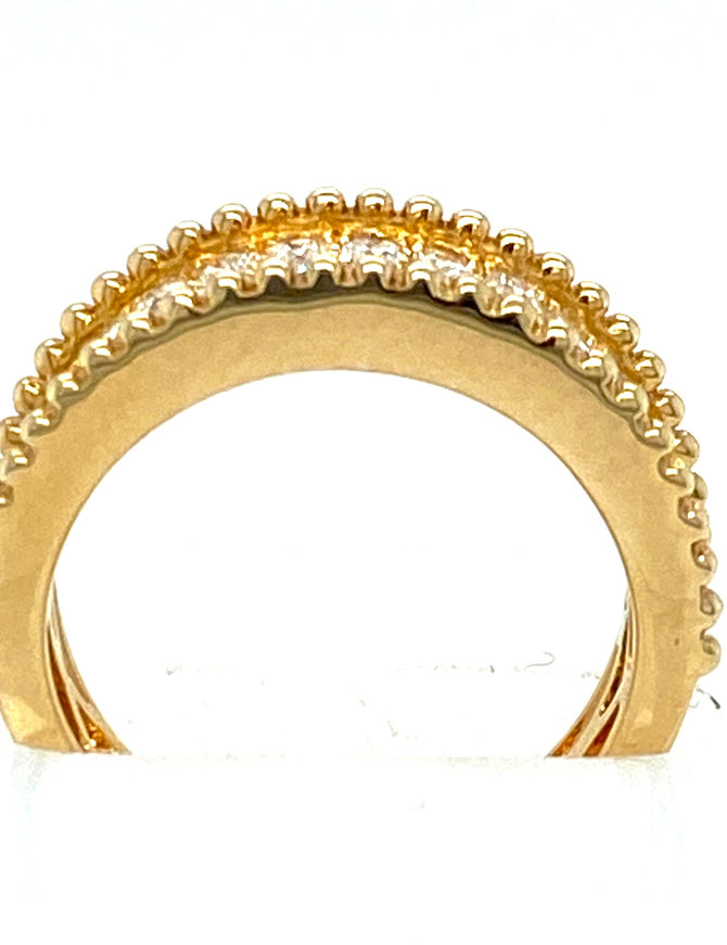 2-row diamond (0.77 ctw) beaded edge band, 14k yellow gold