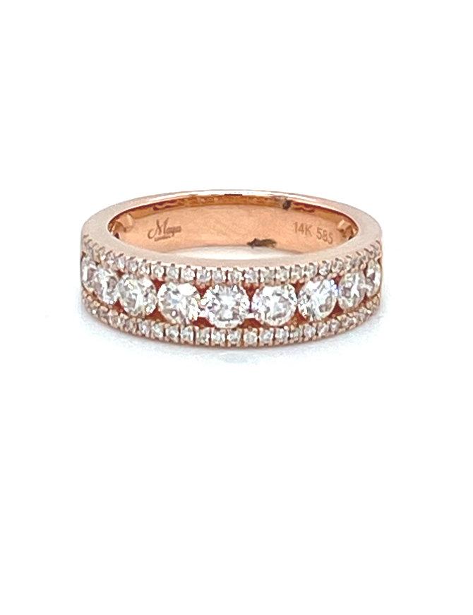 Diamond (1.19 ctw) band, 14k rose gold 4.83 grams