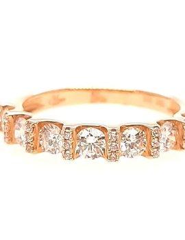 Diamond (0.90 ctw) with diamond bar prong set band, 14k yellow gold