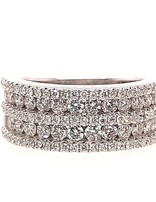 5-row diamond (1.33 ctw) band, 14k white gold, 6.33 grams