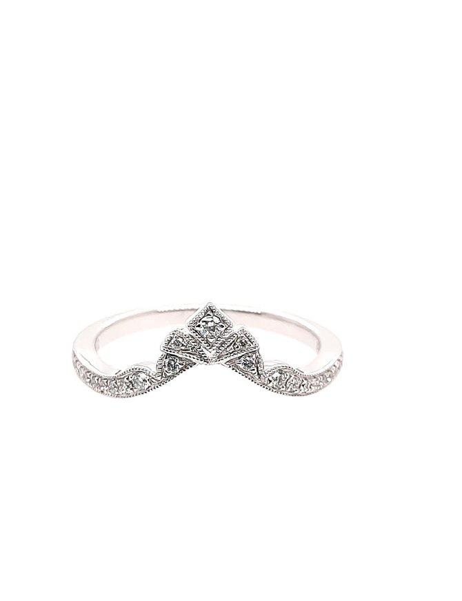 Diamond (0.11 ctw) tiara look band, 14k white gold