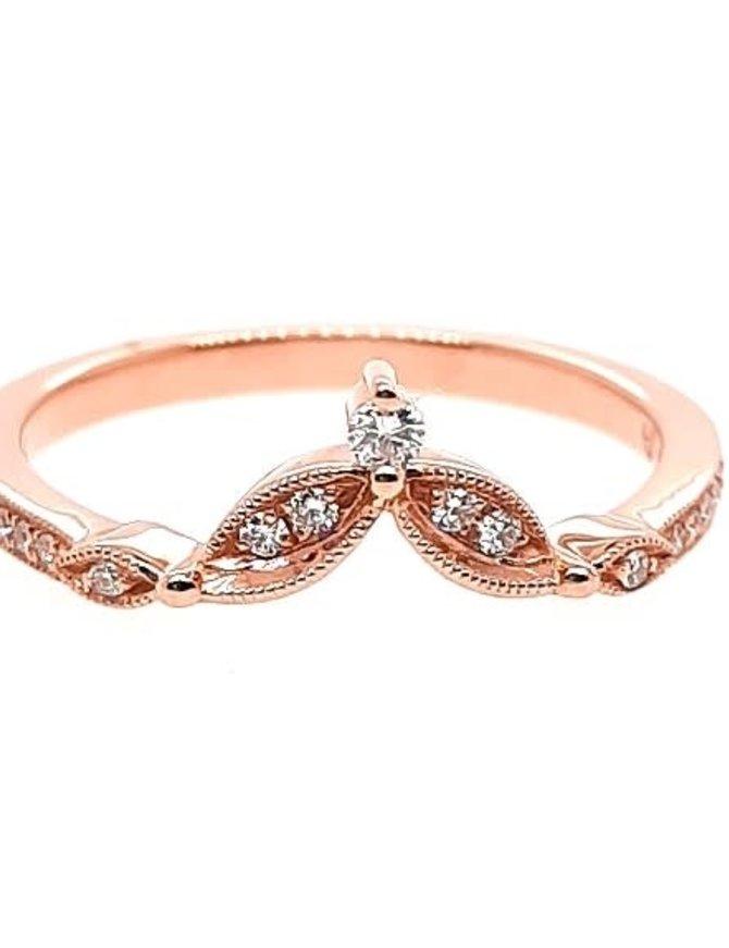 Diamond (0.11 ctw) tiara look band, 14k rose gold