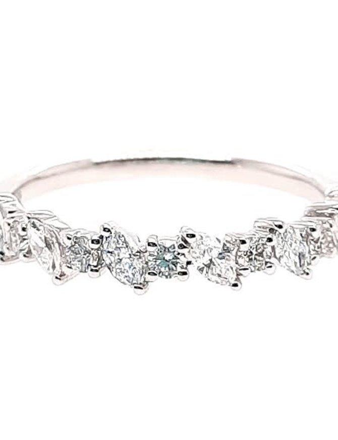Round & marquise diamond (0.50 ctw) band, 14k white gold