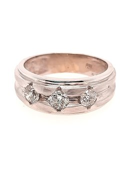 Men's 3-diamond (0.95 ctw) band, 14k white gold