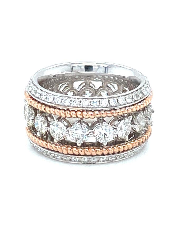 Diamond (4.23 ctw) eternity band, 14k white & rose gold