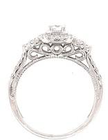 Diamond vintage style halo setting, 14k white gold, shown with a cz center