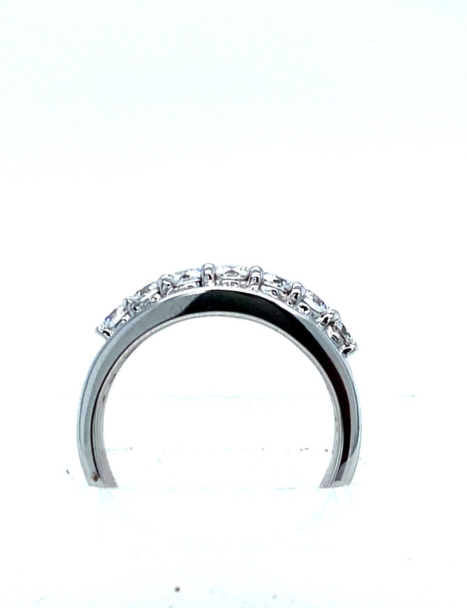 Round & baguette diamond (1.44 ctw) band, 18k white gold
