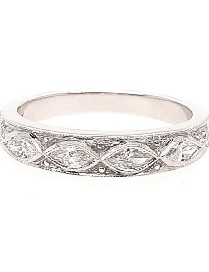 Round & baguette diamond (0.36 ctw) band, 18k white gold