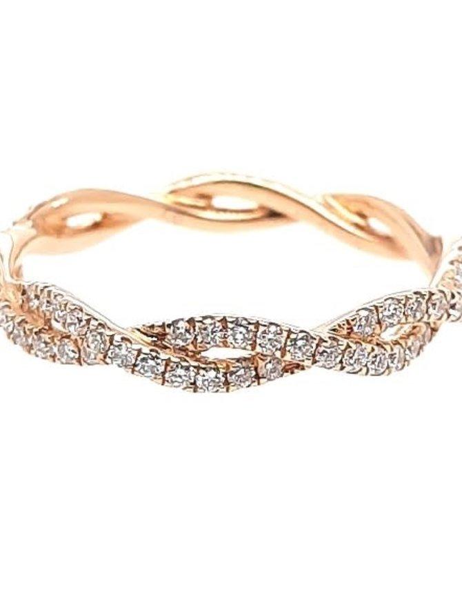 Diamond (0.46 ctw) twist band, 14k yellow gold