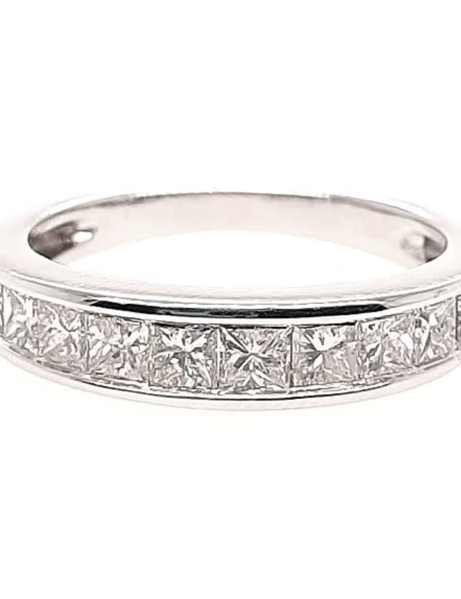 Princess diamond (1.00 ctw) channel set band, 14k white gold