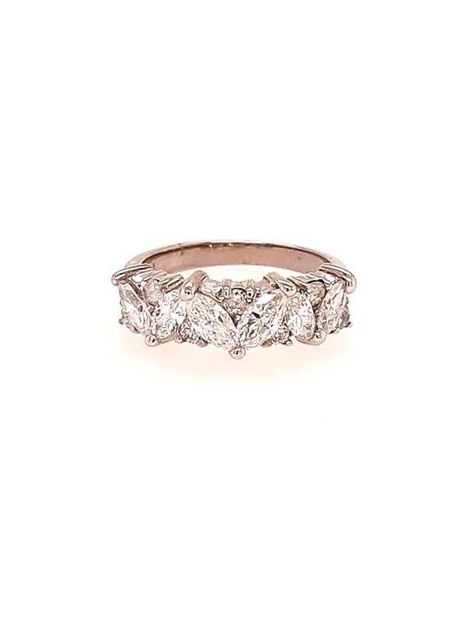 Marquise diamond (2.00 ctw) band, 14k white gold, 3.6 grams