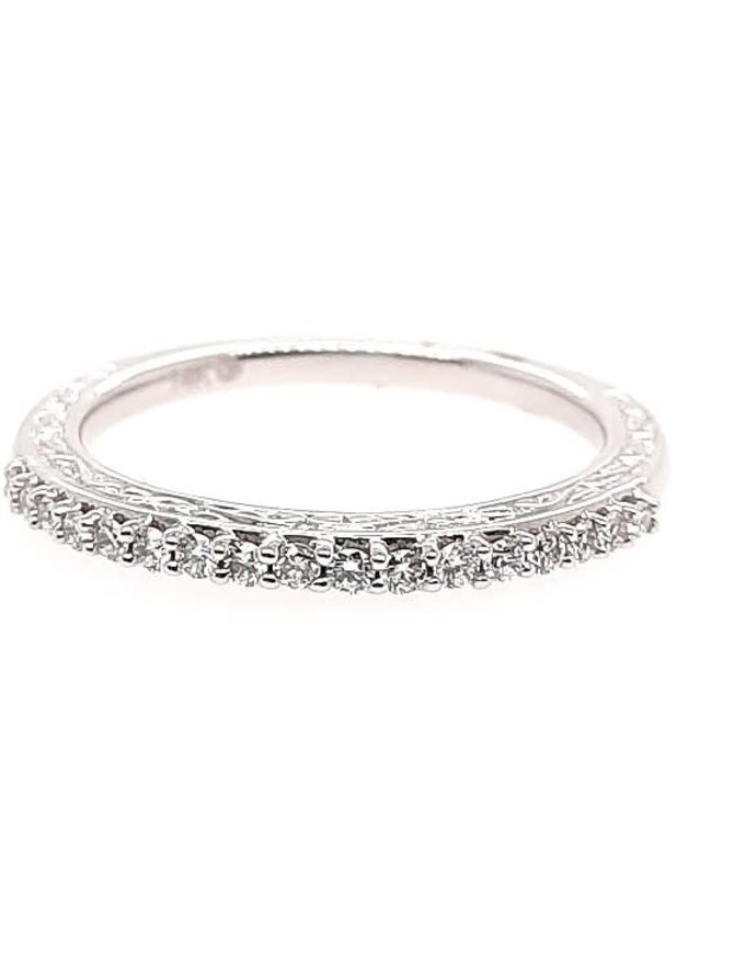 Diamond (0.20 ctw) scroll edge band, 14k white gold