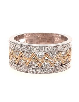 Diamond (1.08 ctw) fashion band, 14k white & yellow gold