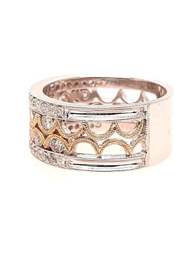 Diamond (1.08 ctw) fashion band, 14k white & yellow gold