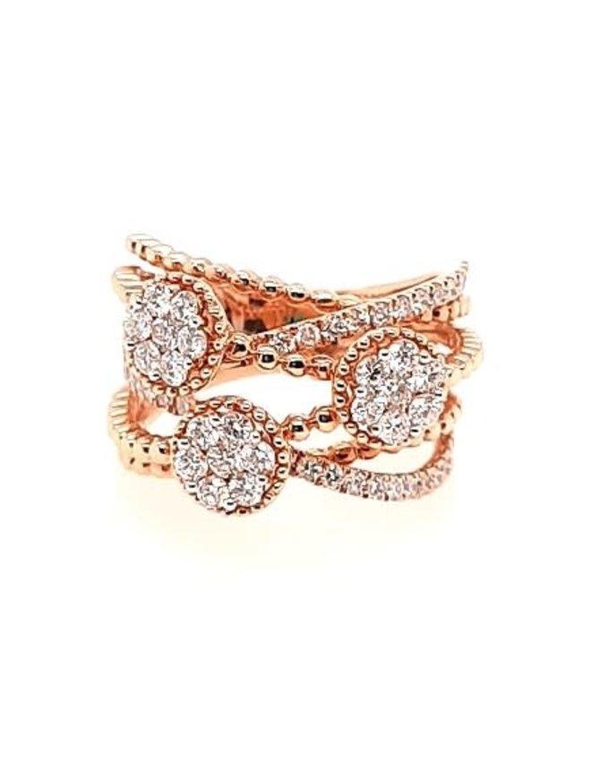 Diamond (1.50 ctw) fashion ring, 18k rose gold