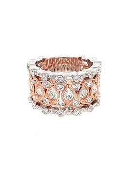 Diamond (1.83 ctw) wide fashion ring, 14k white & rose gold
