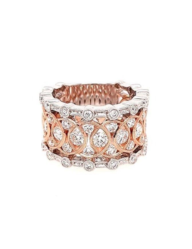 Diamond (1.83 ctw) wide fashion ring, 14k white & rose gold