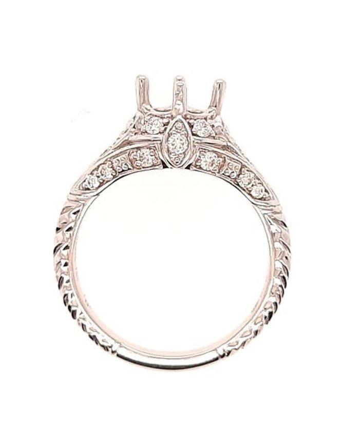 Diamond (1/3 ctw) vintage style setting, 18k white gold, fits 6.5 mm stone