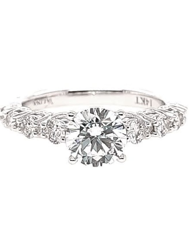 Diamond (0.51 ctw) setting, 14k white gold, shown with a cz center