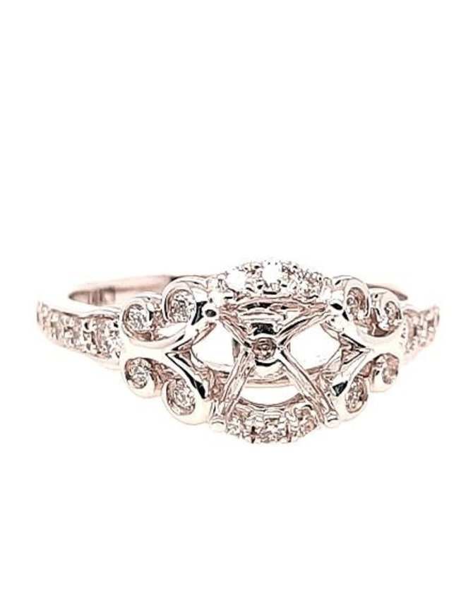 Diamond (0.32 ctw) scroll setting, 14k white gold, center stone not included