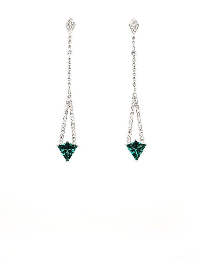 Diamond (0.50 ctw) & green quartz (1.7 ctw) drop earrings, 14k white gold