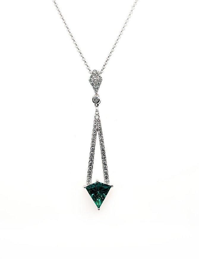 Diamond (0.25 ctw) & green quartz (0.92 ct) pendant, 14k white gold, chain included
