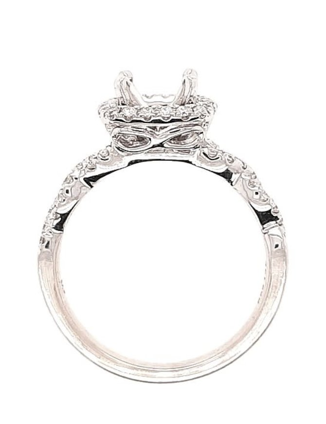 Diamond (0.30 ctw) halo with twist setting, 14k white gold, center stone not included