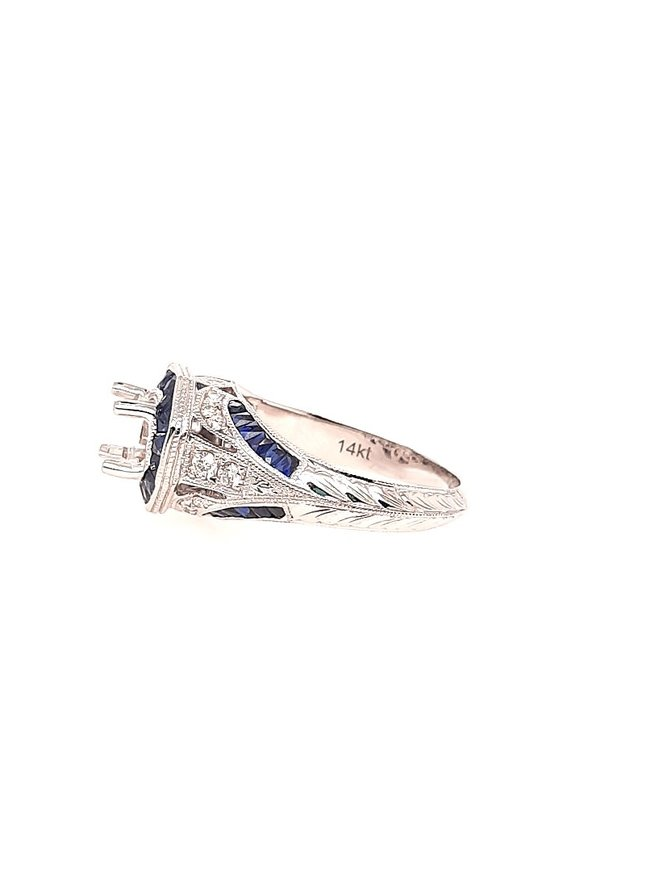 Diamond (0.21 ctw) & sapphire vintage style setting, 14k white gold, center stone not included