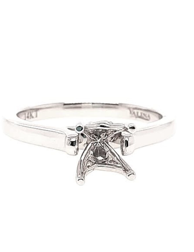 Diamond (0.04 ctw) solitaire setting, 14k white gold, center stone not included