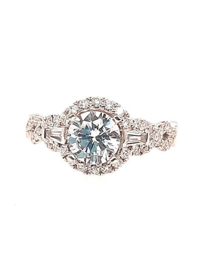 Diamond (0.50 ctw) halo setting, 14k white gold, shown with a cz, center stone not included