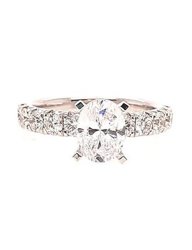 Oval diamond (1.00 ctw) setting, 14k white gold, shown with a cz, center stone not included