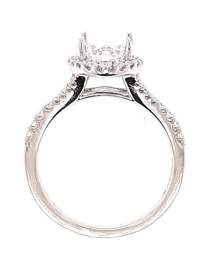 Diamond (0.33 ctw) halo setting, 14k white gold, shown with a cz, center stone not included