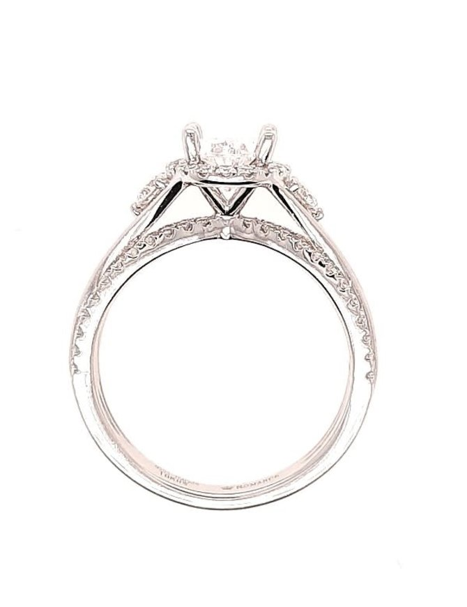 Diamond (0.50 ctw) oval halo setting, 14k white gold, shown with a cz, center stone not included