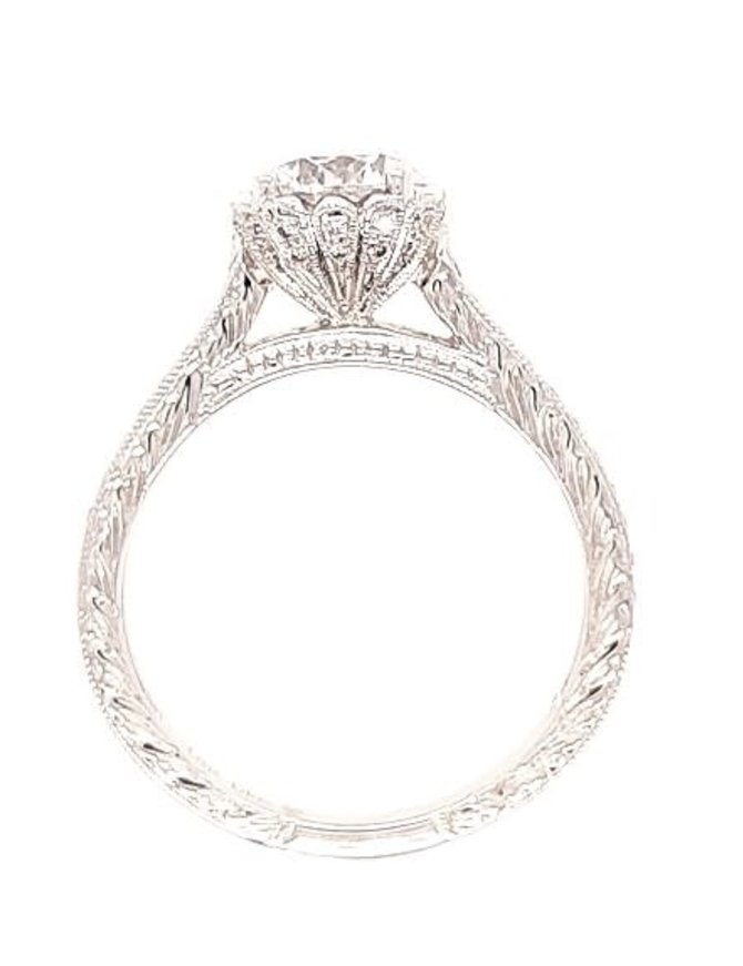 Diamond (0.67 ctw) hand engraved setting, 18k white gold, shown with a cz, center stone not included