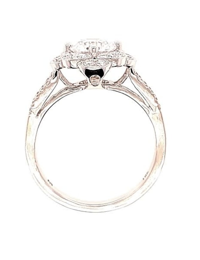 Diamond (0.39 ctw) split shank halo setting, 18k white gold, shown with a cz, center stone not included