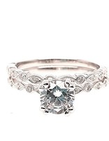 Diamond (0.17 ctw) setting & matching band set, 14k white gold, shown with a cz, center stone not included